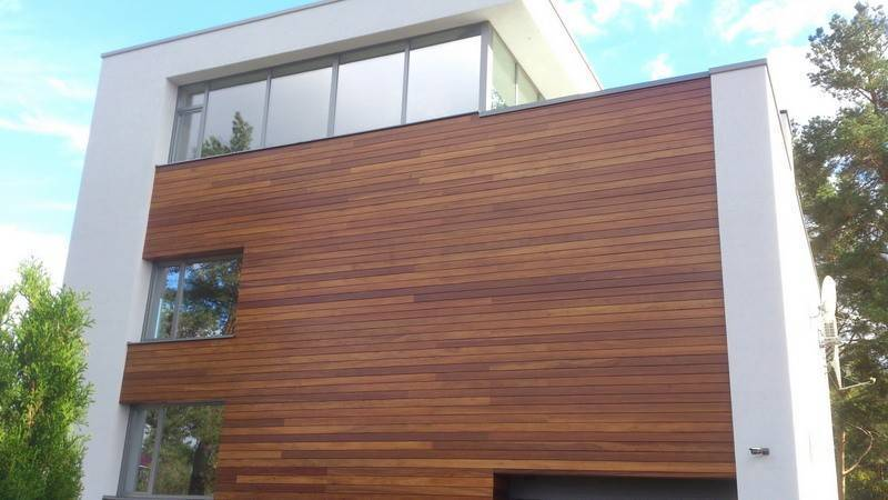 Wooden facade Facade panel made of  Iroko 25x75x2000/3000