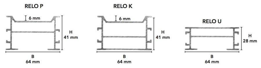 For the terrace Aluminum construction 41 x 64 RELO K for the installation of a terrace Fixing Group