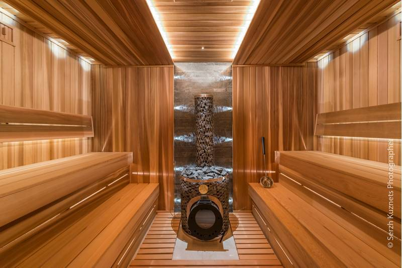 Lamperia for saunas Red Canadian Cedar paneling