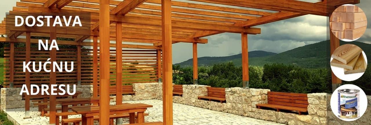 Za Pergole Lepljeno lamelirano drvo za Grede za Prozore od Sibirskog Ariša. Podkonstrukcija
